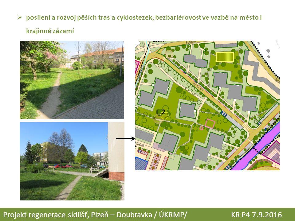  posílení a rozvoj pěších tras a cyklostezek, bezbariérovost ve vazbě na město i krajinné zázemí Projekt regenerace sídlišť, Plzeň – Doubravka / ÚKRM