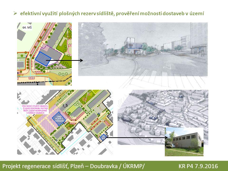  efektivní využití plošných rezerv sídliště, prověření možnosti dostaveb v území Projekt regenerace sídlišť, Plzeň – Doubravka / ÚKRMP/ KR P4 7.9.201
