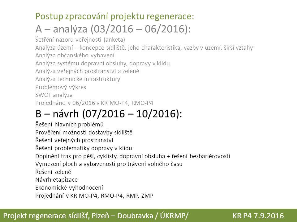 Postup zpracování projektu regenerace: A – analýza (03/2016 – 06/2016): Šetření názoru veřejnosti (anketa) Analýza území – koncepce sídliště, jeho cha
