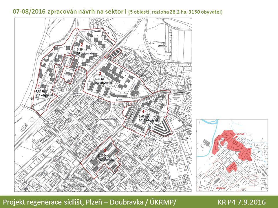 07-08/2016 zpracován návrh na sektor I (5 oblastí, rozloha 26,2 ha, 3150 obyvatel) Projekt regenerace sídlišť, Plzeň – Doubravka / ÚKRMP/ KR P4 7.9.2016