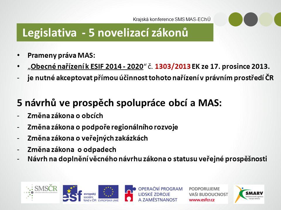 """Krajská konference SMS MAS-EChÚ Prameny práva MAS: """"Obecné nařízení k ESIF 2014 - 2020 č."""
