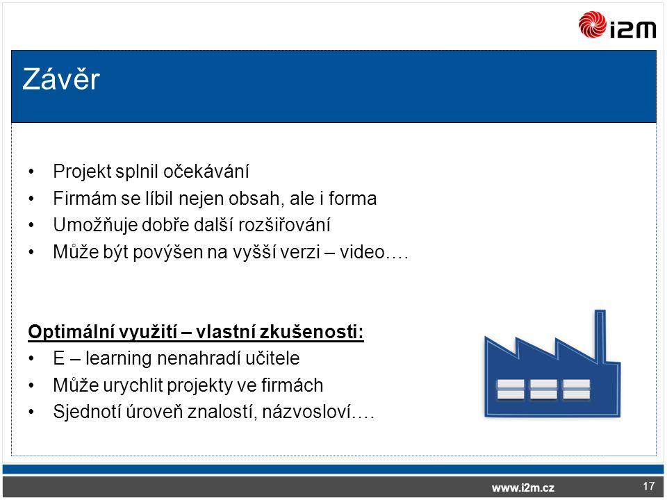 www.i2m.cz Závěr Projekt splnil očekávání Firmám se líbil nejen obsah, ale i forma Umožňuje dobře další rozšiřování Může být povýšen na vyšší verzi – video….