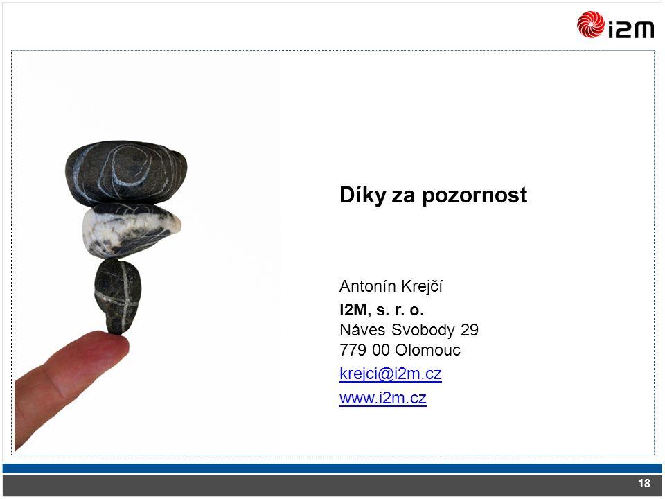 Díky za pozornost Antonín Krejčí i2M, s. r. o.