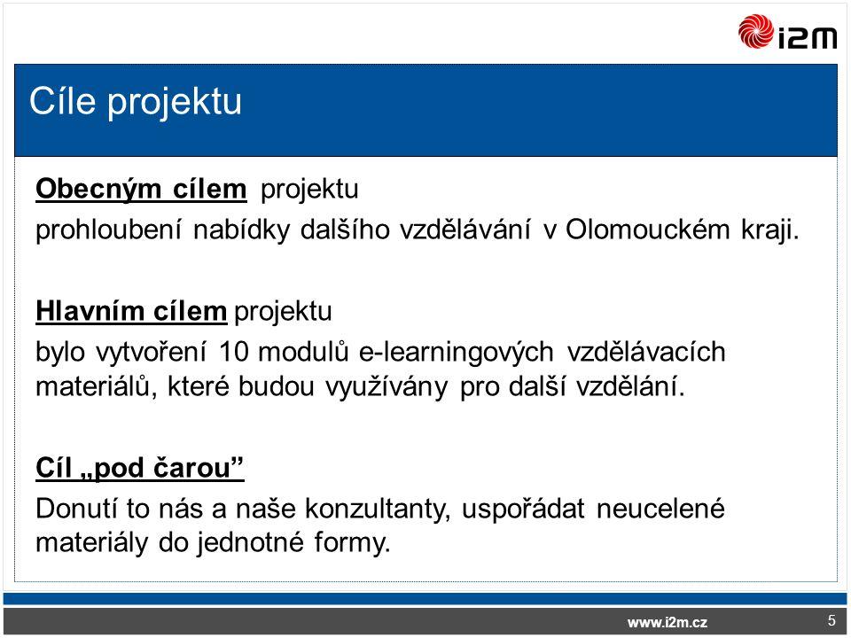www.i2m.cz Cíle projektu 5 Obecným cílem projektu prohloubení nabídky dalšího vzdělávání v Olomouckém kraji.