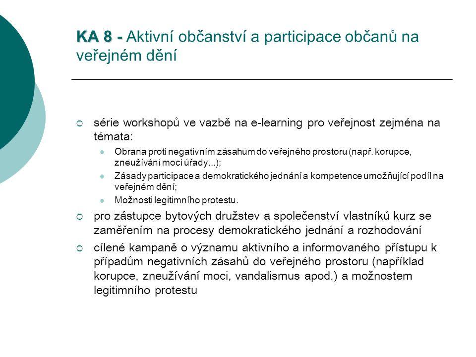 KA 8 - KA 8 - Aktivní občanství a participace občanů na veřejném dění  série workshopů ve vazbě na e-learning pro veřejnost zejména na témata: Obrana proti negativním zásahům do veřejného prostoru (např.