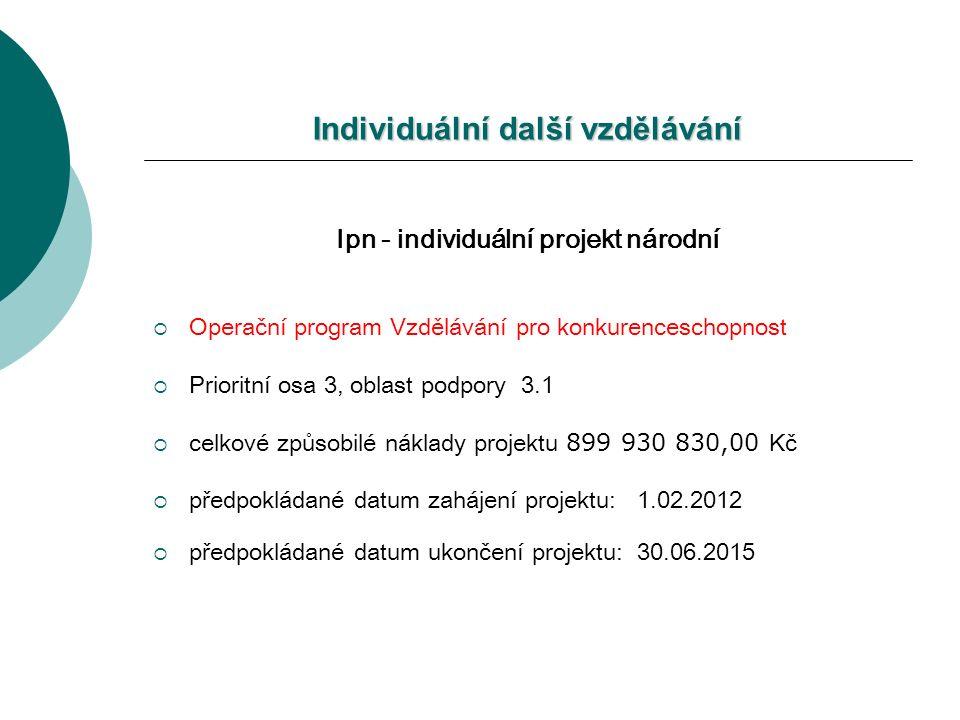 Individuální další vzdělávání Ipn - individuální projekt národní  Operační program Vzdělávání pro konkurenceschopnost  Prioritní osa 3, oblast podpory 3.1  celkové způsobilé náklady projektu 899 930 830,00 Kč  předpokládané datum zahájení projektu: 1.02.2012  předpokládané datum ukončení projektu: 30.06.2015