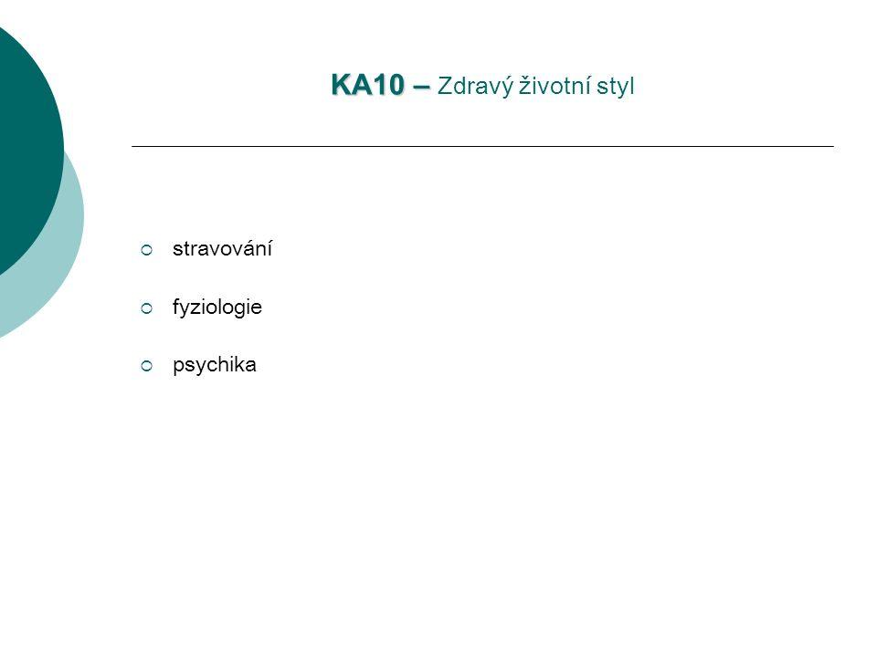KA10 – KA10 – Zdravý životní styl  stravování  fyziologie  psychika