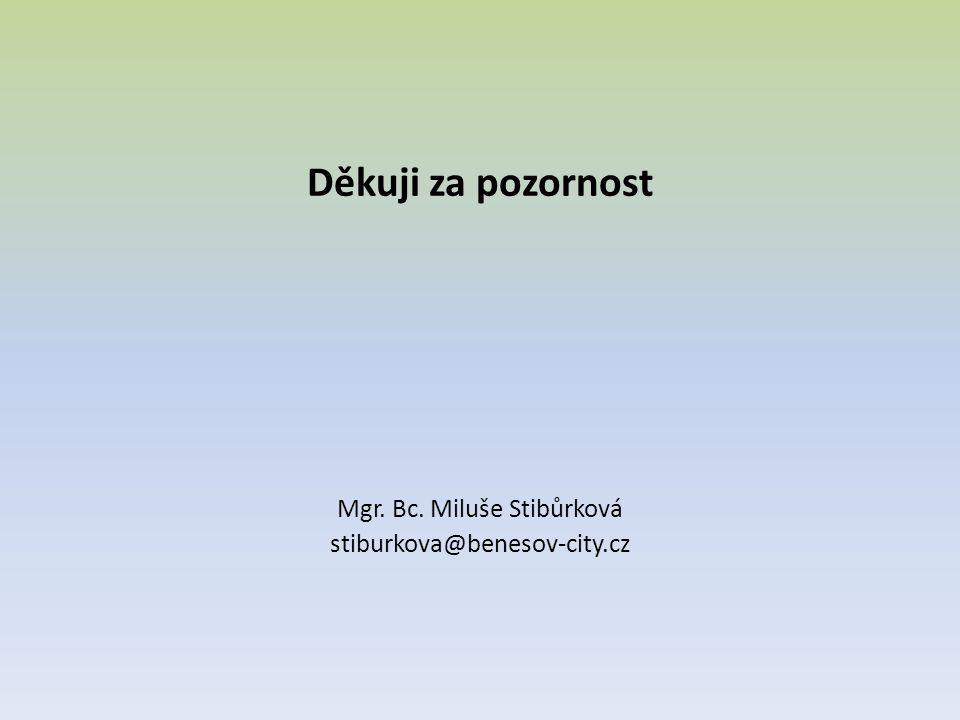 Děkuji za pozornost Mgr. Bc. Miluše Stibůrková stiburkova@benesov-city.cz