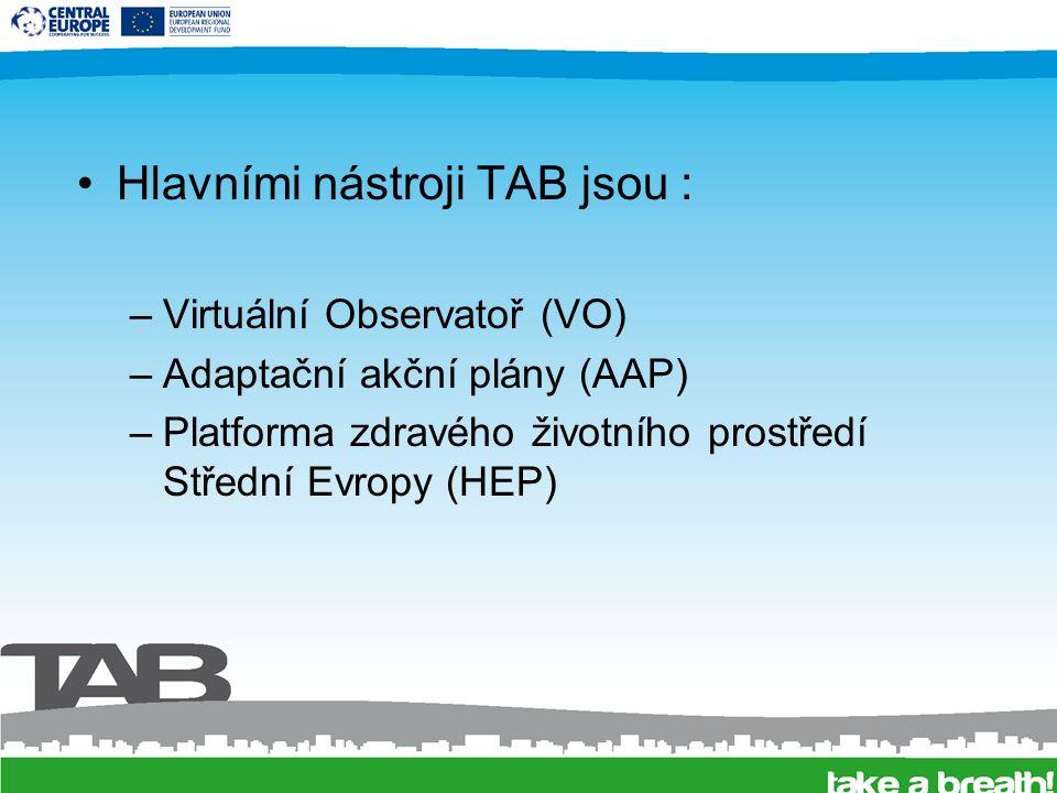 Hlavními nástroji TAB jsou : –Virtuální Observatoř (VO) –Adaptační akční plány (AAP) –Platforma zdravého životního prostředí Střední Evropy (HEP)