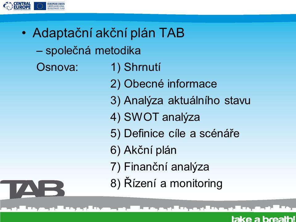 Adaptační akční plán TAB –společná metodika Osnova: 1) Shrnutí 2) Obecné informace 3) Analýza aktuálního stavu 4) SWOT analýza 5) Definice cíle a scénáře 6) Akční plán 7) Finanční analýza 8) Řízení a monitoring
