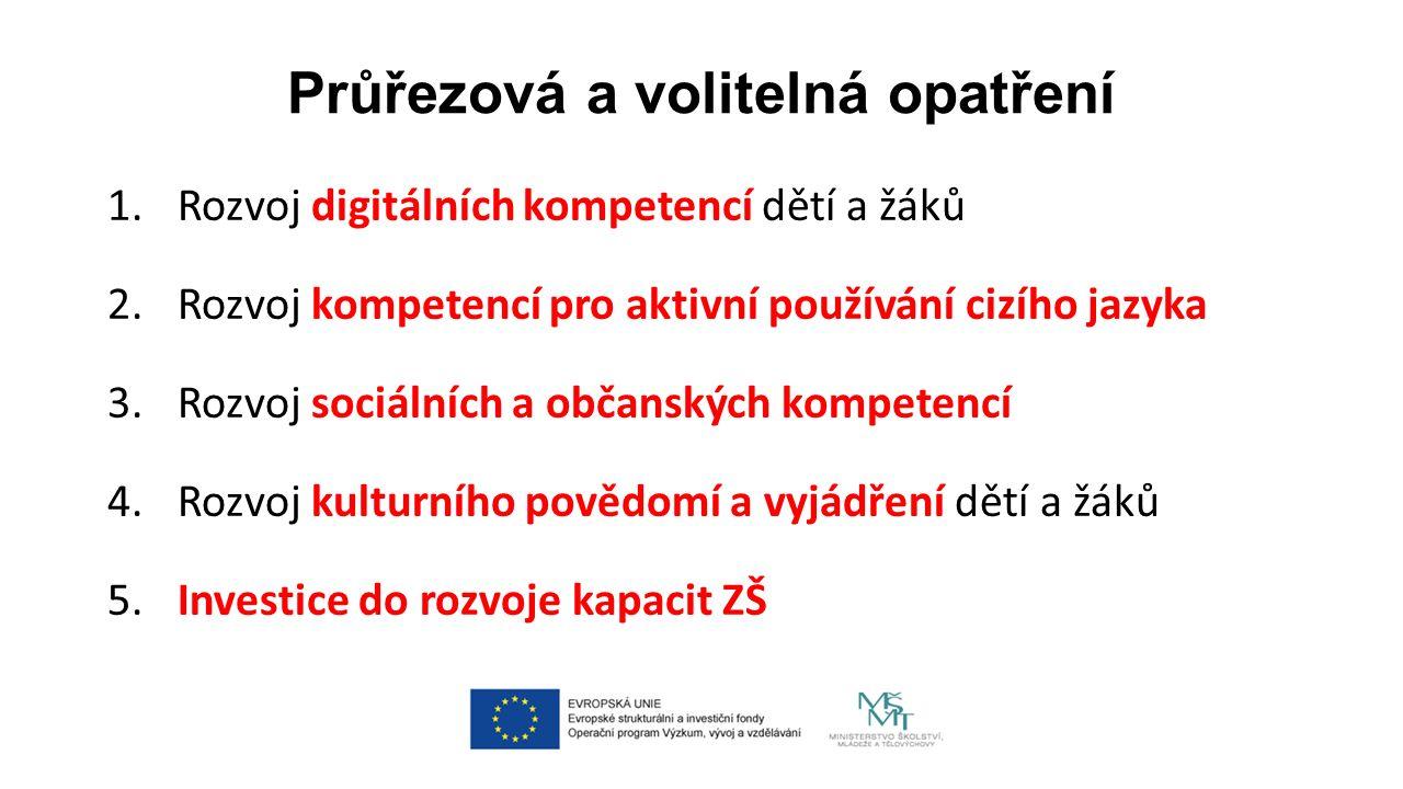 Průřezová a volitelná opatření 1. Rozvoj digitálních kompetencí dětí a žáků 2.