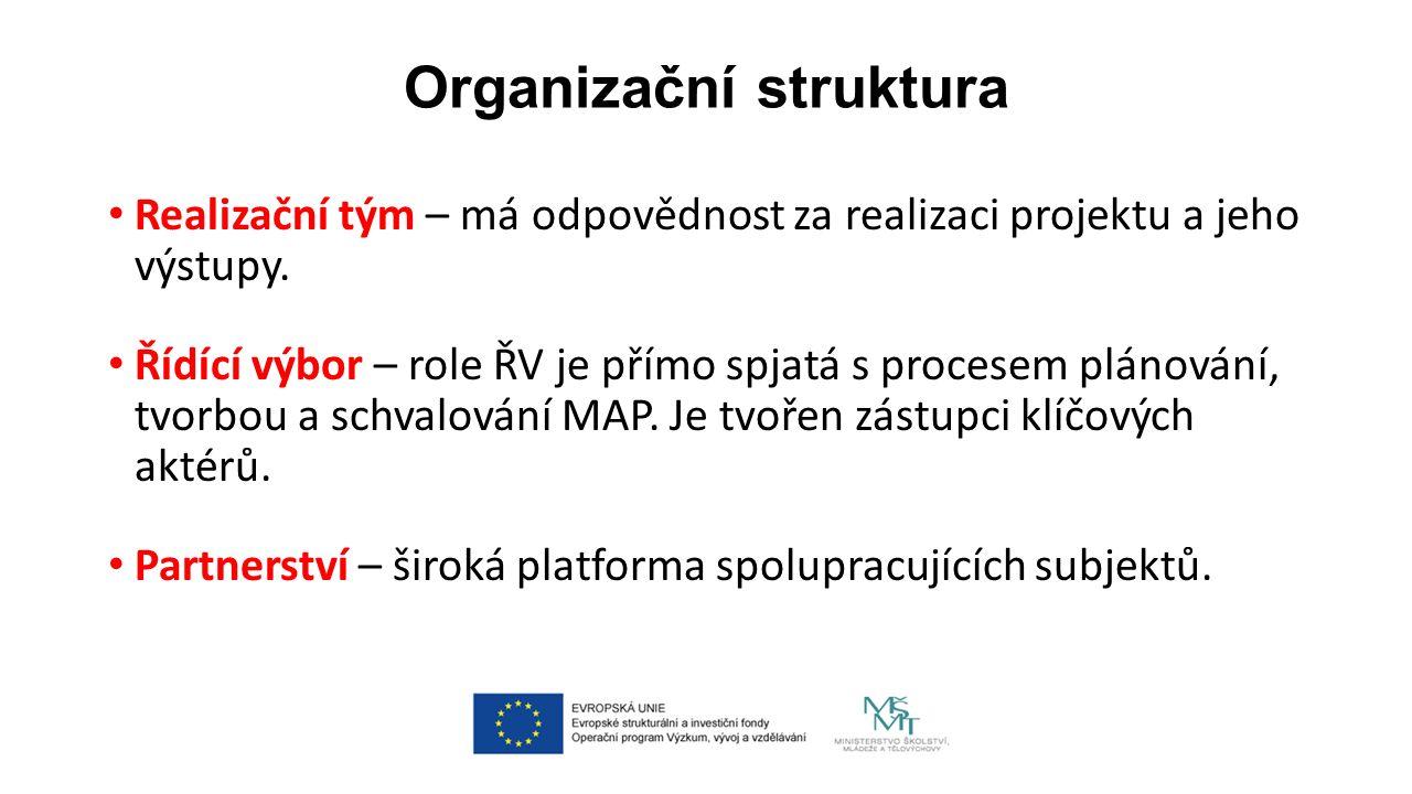 Organizační struktura Realizační tým – má odpovědnost za realizaci projektu a jeho výstupy.