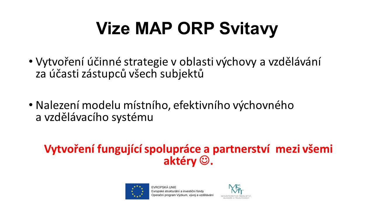 Vize MAP ORP Svitavy Vytvoření účinné strategie v oblasti výchovy a vzdělávání za účasti zástupců všech subjektů Nalezení modelu místního, efektivního výchovného a vzdělávacího systému Vytvoření fungující spolupráce a partnerství mezi všemi aktéry.