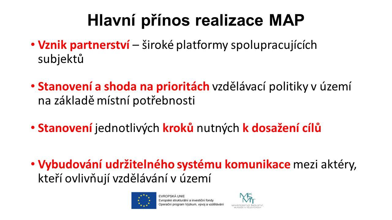 Hlavní přínos realizace MAP Vznik partnerství – široké platformy spolupracujících subjektů Stanovení a shoda na prioritách vzdělávací politiky v území na základě místní potřebnosti Stanovení jednotlivých kroků nutných k dosažení cílů Vybudování udržitelného systému komunikace mezi aktéry, kteří ovlivňují vzdělávání v území