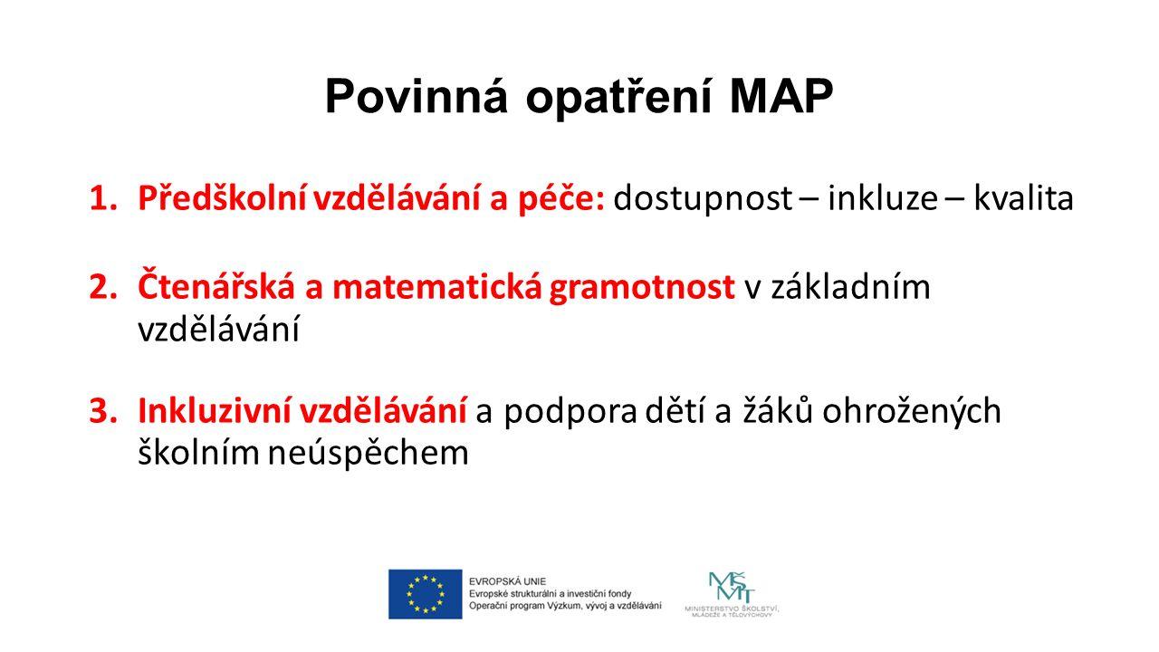 Povinná opatření MAP 1.Předškolní vzdělávání a péče: dostupnost – inkluze – kvalita 2.Čtenářská a matematická gramotnost v základním vzdělávání 3.Inkluzivní vzdělávání a podpora dětí a žáků ohrožených školním neúspěchem