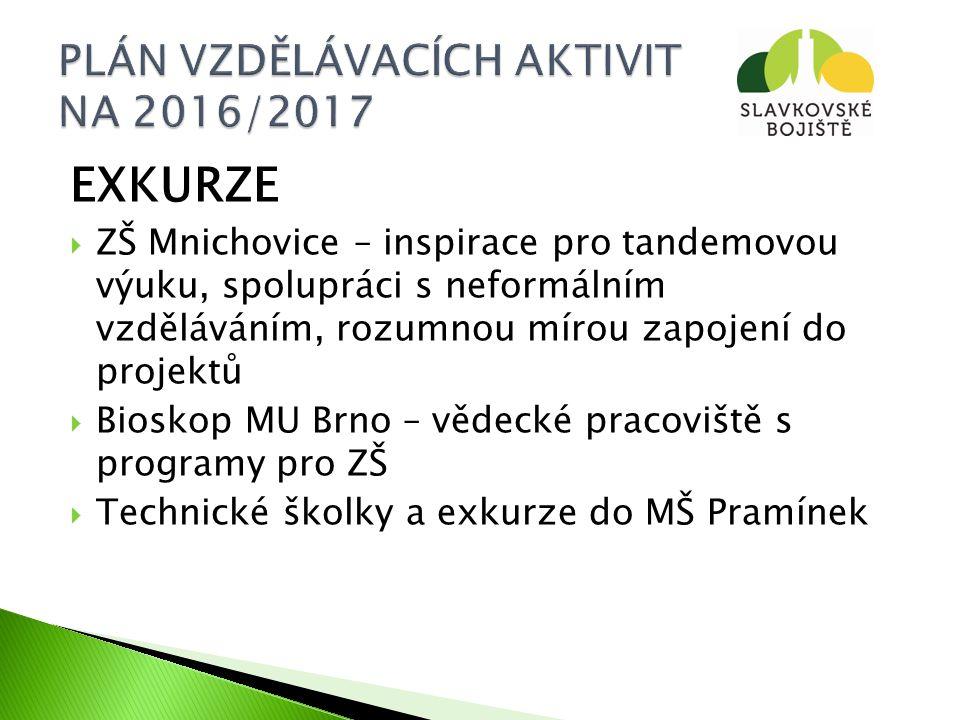 EXKURZE  ZŠ Mnichovice – inspirace pro tandemovou výuku, spolupráci s neformálním vzděláváním, rozumnou mírou zapojení do projektů  Bioskop MU Brno – vědecké pracoviště s programy pro ZŠ  Technické školky a exkurze do MŠ Pramínek