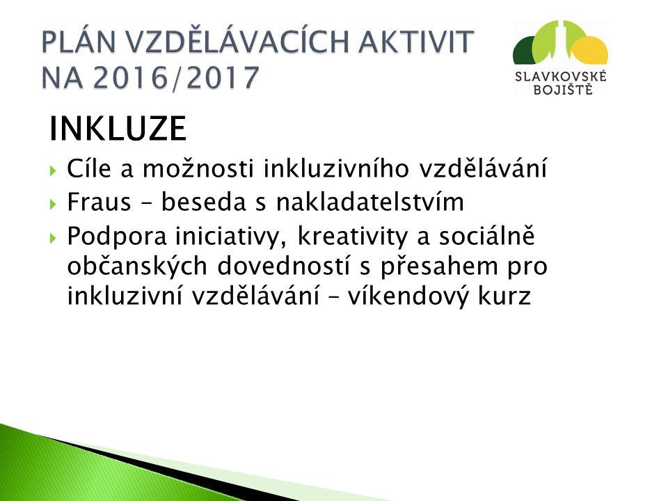 INKLUZE  Cíle a možnosti inkluzivního vzdělávání  Fraus – beseda s nakladatelstvím  Podpora iniciativy, kreativity a sociálně občanských dovedností s přesahem pro inkluzivní vzdělávání – víkendový kurz