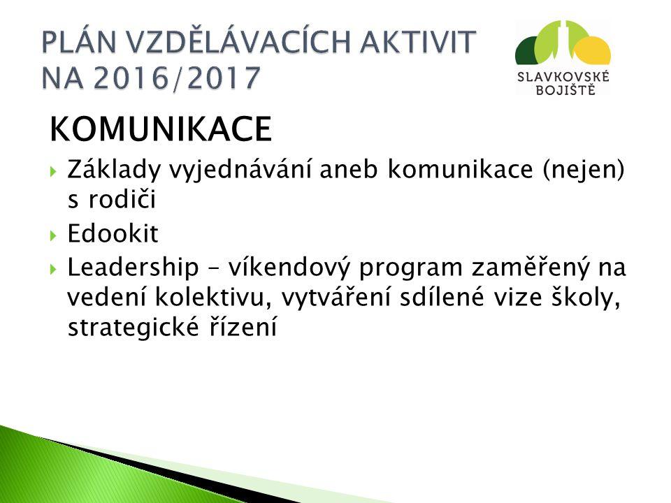 KOMUNIKACE  Základy vyjednávání aneb komunikace (nejen) s rodiči  Edookit  Leadership – víkendový program zaměřený na vedení kolektivu, vytváření sdílené vize školy, strategické řízení