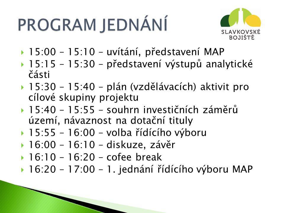  15:00 – 15:10 – uvítání, představení MAP  15:15 – 15:30 – představení výstupů analytické části  15:30 – 15:40 – plán (vzdělávacích) aktivit pro cílové skupiny projektu  15:40 – 15:55 – souhrn investičních záměrů území, návaznost na dotační tituly  15:55 – 16:00 – volba řídícího výboru  16:00 – 16:10 – diskuze, závěr  16:10 – 16:20 – cofee break  16:20 – 17:00 – 1.