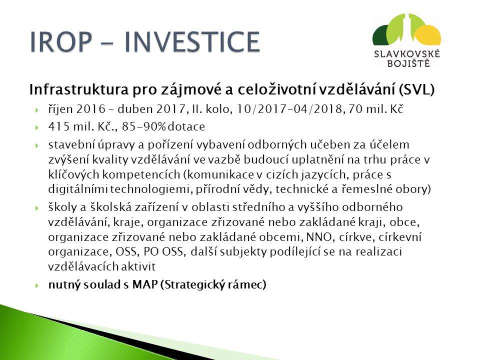 Infrastruktura pro zájmové a celoživotní vzdělávání (SVL)  říjen 2016 – duben 2017, II.
