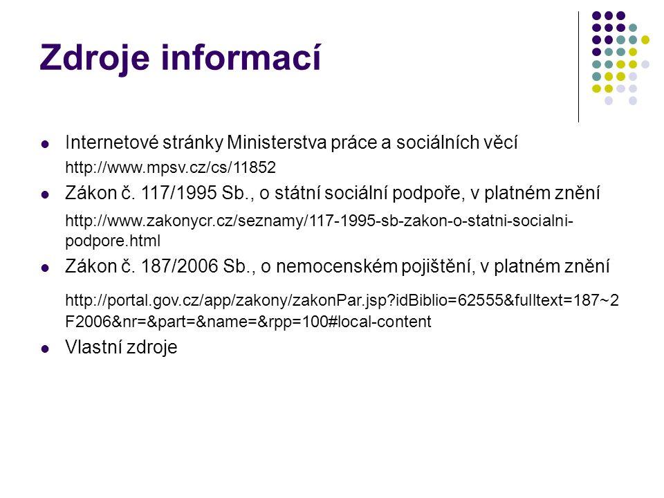 Zdroje informací Internetové stránky Ministerstva práce a sociálních věcí http://www.mpsv.cz/cs/11852 Zákon č. 117/1995 Sb., o státní sociální podpoře