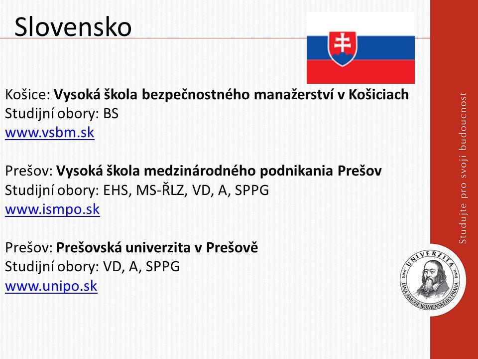 Slovensko Košice: Vysoká škola bezpečnostného manažerství v Košiciach Studijní obory: BS www.vsbm.sk Prešov: Vysoká škola medzinárodného podnikania Pr