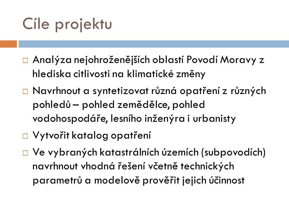 Cíle projektu  Analýza nejohroženějších oblastí Povodí Moravy z hlediska citlivosti na klimatické změny  Navrhnout a syntetizovat různá opatření z r