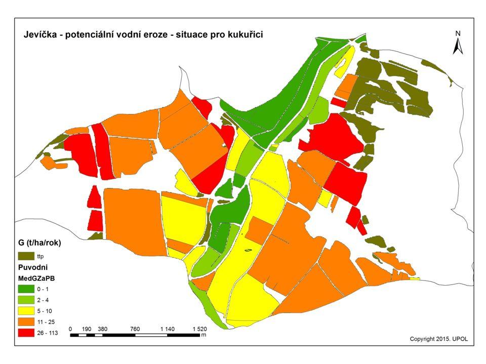 Dílčí výsledky pro povodí Jevíčky – výchozí situace