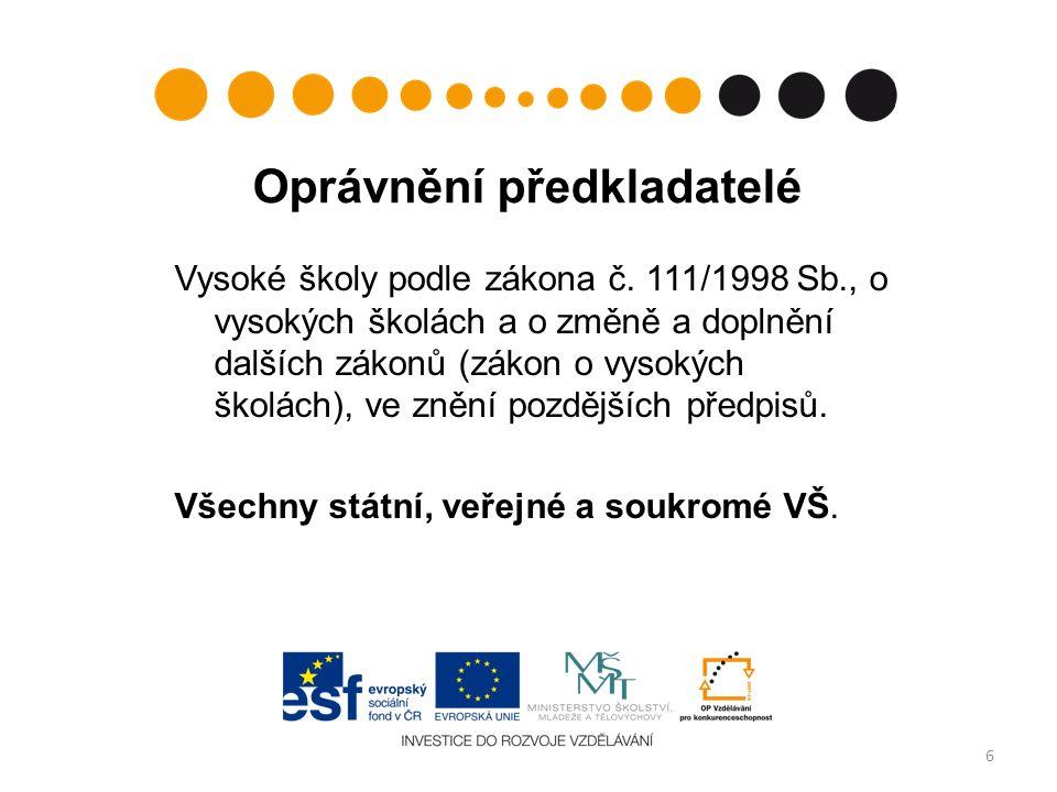 Oprávnění předkladatelé Vysoké školy podle zákona č.