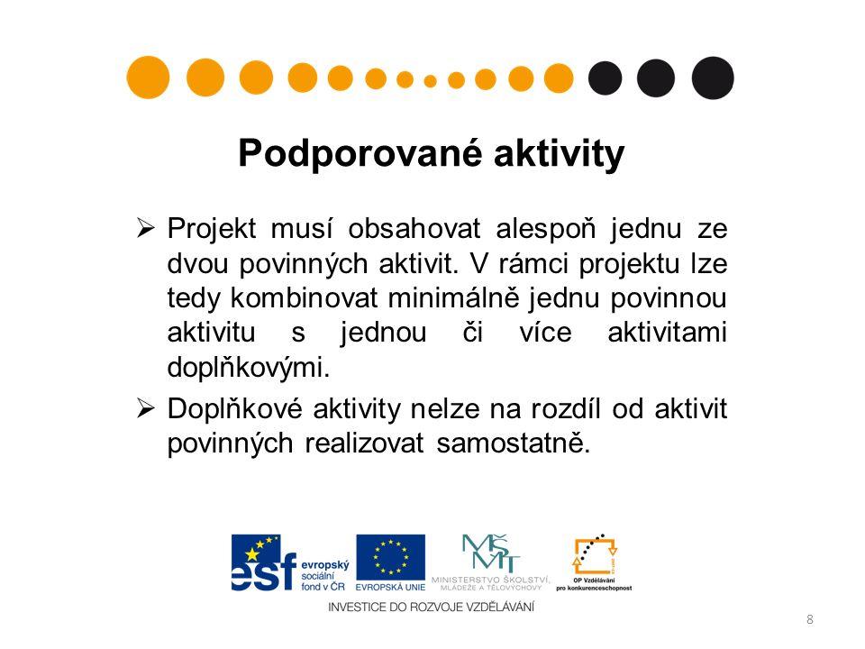 Podporované aktivity  Projekt musí obsahovat alespoň jednu ze dvou povinných aktivit.