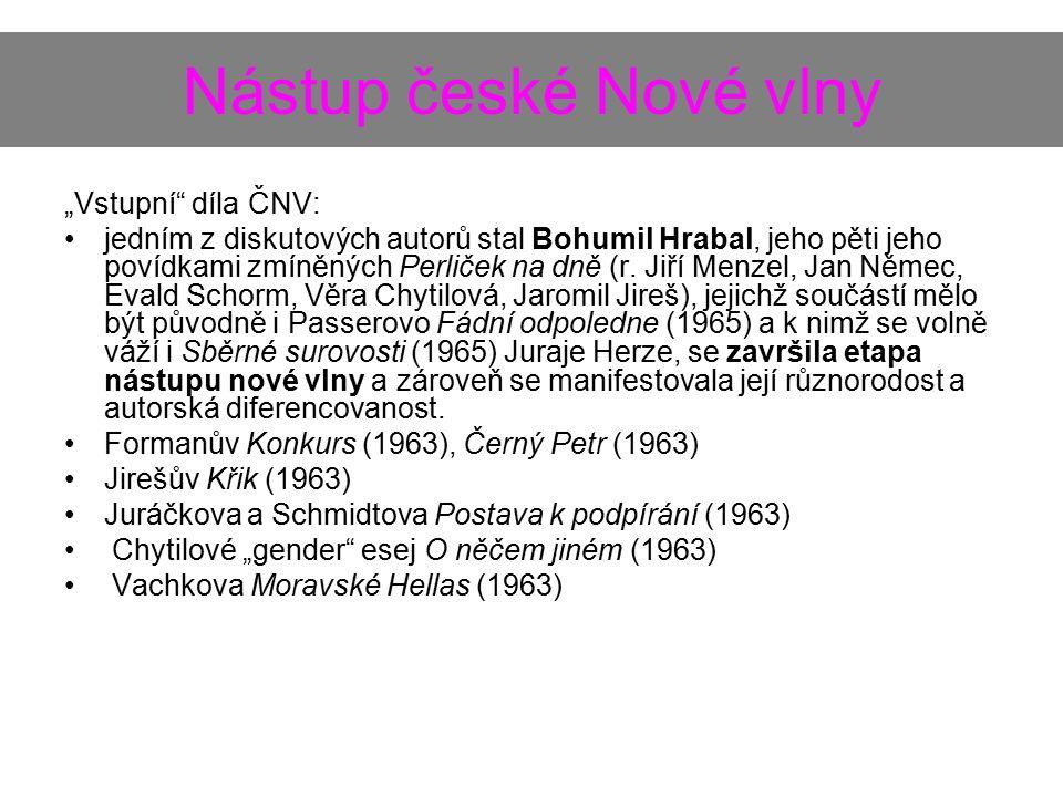 """Nástup české Nové vlny """"Vstupní díla ČNV: jedním z diskutových autorů stal Bohumil Hrabal, jeho pěti jeho povídkami zmíněných Perliček na dně (r."""