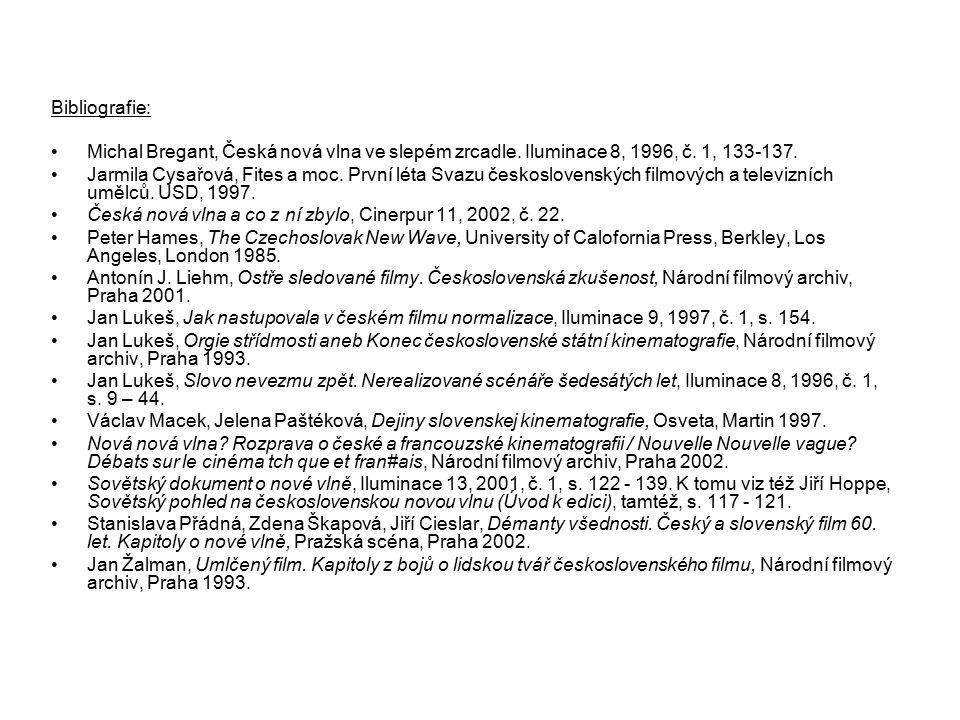 Bibliografie: Michal Bregant, Česká nová vlna ve slepém zrcadle. Iluminace 8, 1996, č. 1, 133-137. Jarmila Cysařová, Fites a moc. První léta Svazu čes