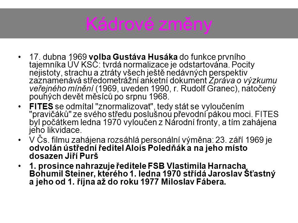 Kádrové změny 17. dubna 1969 volba Gustáva Husáka do funkce prvního tajemníka ÚV KSČ: tvrdá normalizace je odstartována. Pocity nejistoty, strachu a z