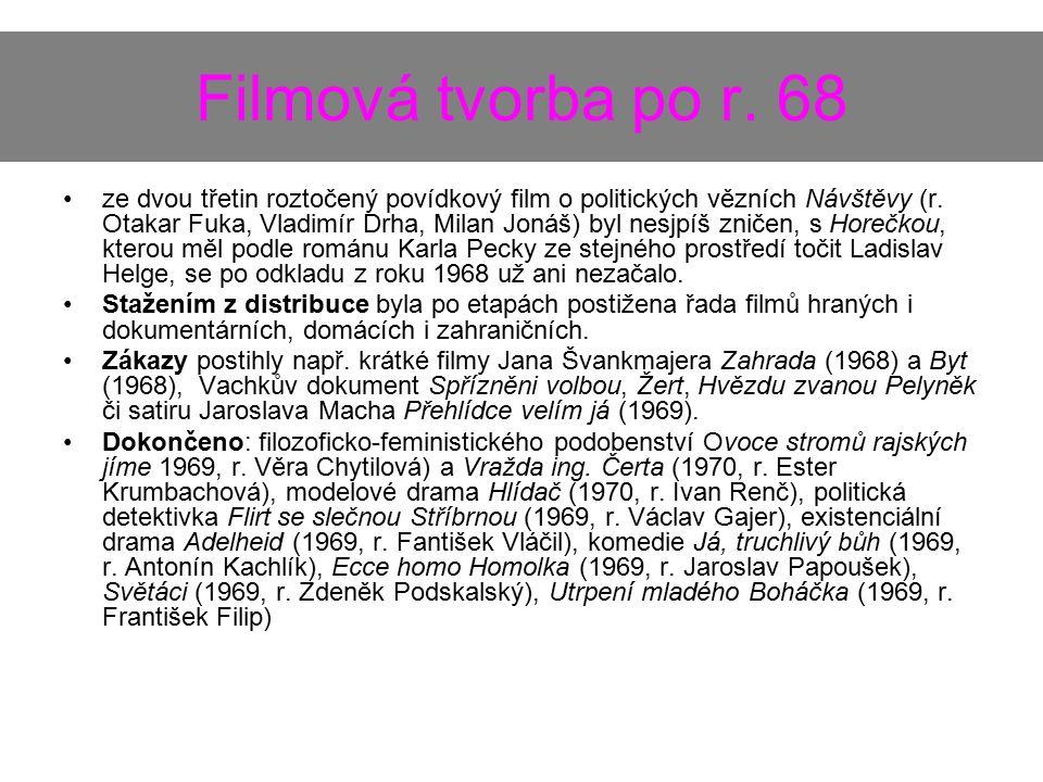 Filmová tvorba po r. 68 ze dvou třetin roztočený povídkový film o politických vězních Návštěvy (r. Otakar Fuka, Vladimír Drha, Milan Jonáš) byl nesjpí