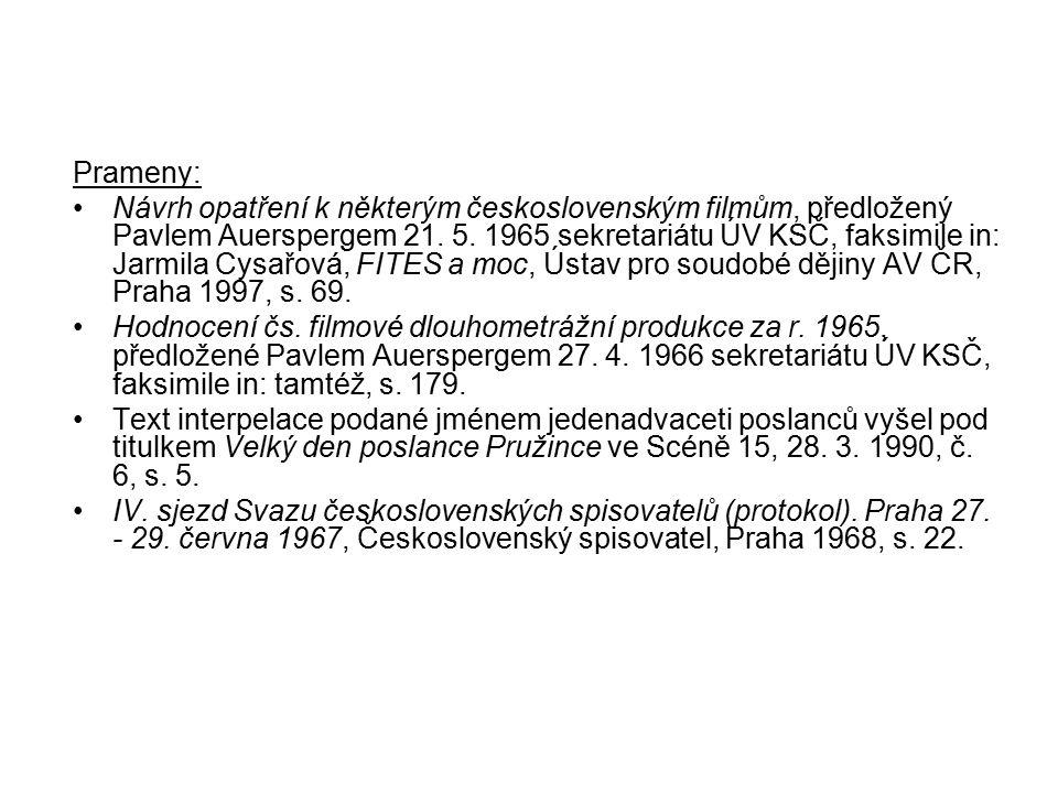 Prameny: Návrh opatření k některým československým filmům, předložený Pavlem Auerspergem 21. 5. 1965 sekretariátu ÚV KSČ, faksimile in: Jarmila Cysařo