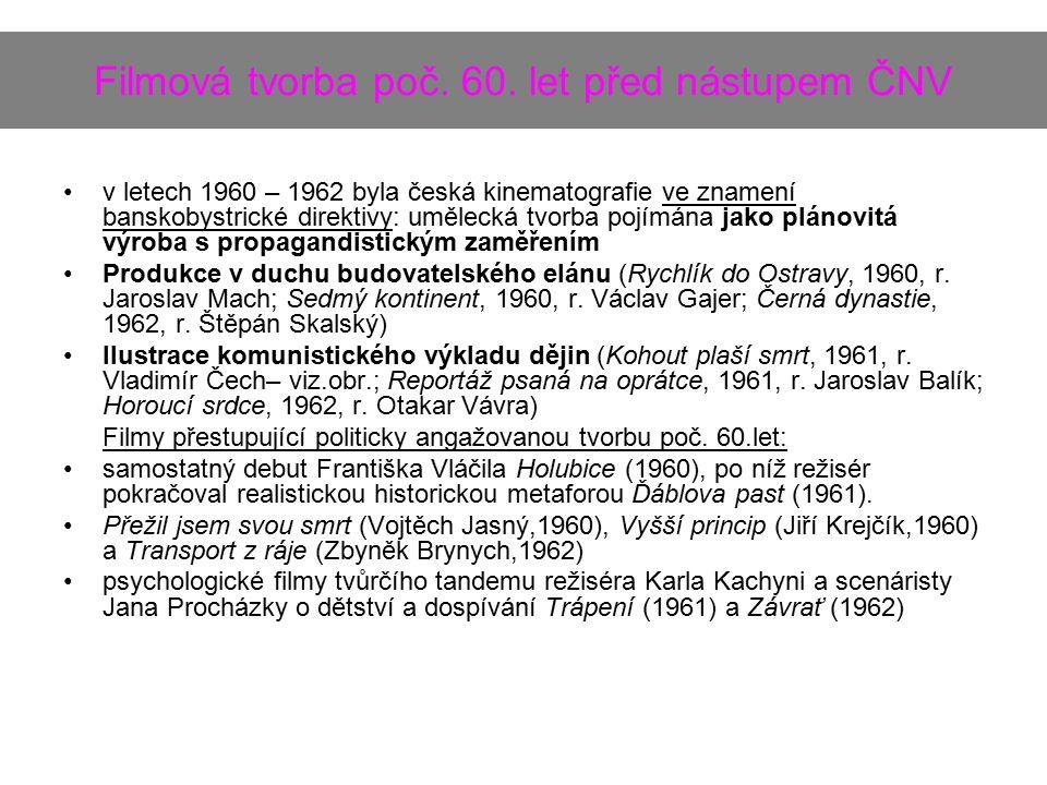 Filmová tvorba poč. 60. let před nástupem ČNV v letech 1960 – 1962 byla česká kinematografie ve znamení banskobystrické direktivy: umělecká tvorba poj