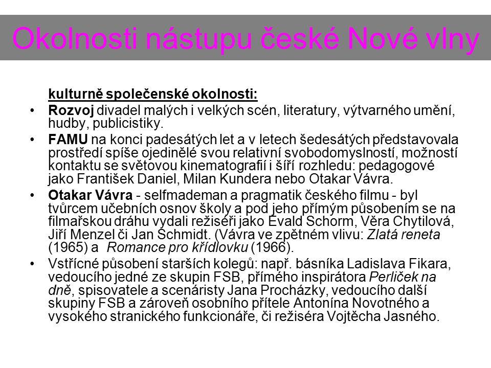 Okolnosti nástupu české Nové vlny kulturně společenské okolnosti: Rozvoj divadel malých i velkých scén, literatury, výtvarného umění, hudby, publicistiky.