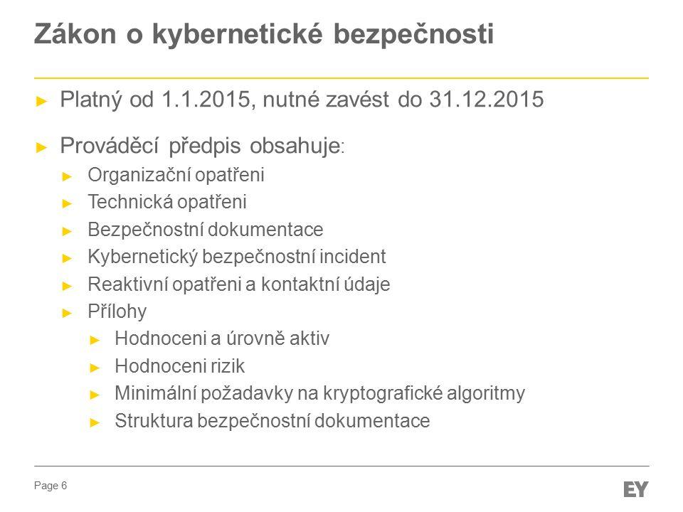 Page 6 Zákon o kybernetické bezpečnosti ► Platný od 1.1.2015, nutné zavést do 31.12.2015 ► Prováděcí předpis obsahuje : ► Organizační opatřeni ► Technická opatřeni ► Bezpečnostní dokumentace ► Kybernetický bezpečnostní incident ► Reaktivní opatřeni a kontaktní údaje ► Přílohy ► Hodnoceni a úrovně aktiv ► Hodnoceni rizik ► Minimální požadavky na kryptografické algoritmy ► Struktura bezpečnostní dokumentace