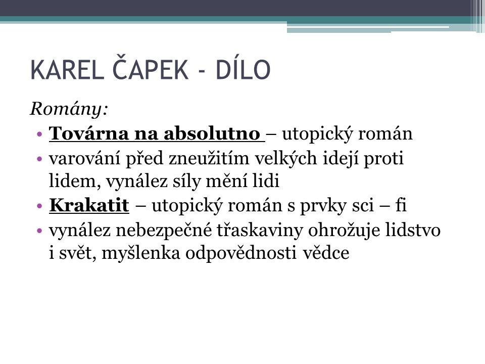 KAREL ČAPEK - DÍLO Přelom 20.– 30.