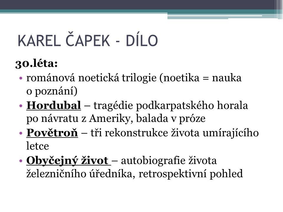 KAREL ČAPEK - DÍLO Konec 30.let: Hovory s T. G.M.