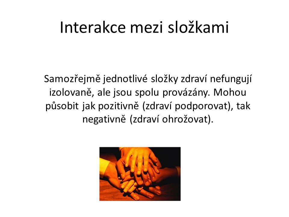 Interakce mezi složkami Samozřejmě jednotlivé složky zdraví nefungují izolovaně, ale jsou spolu provázány.