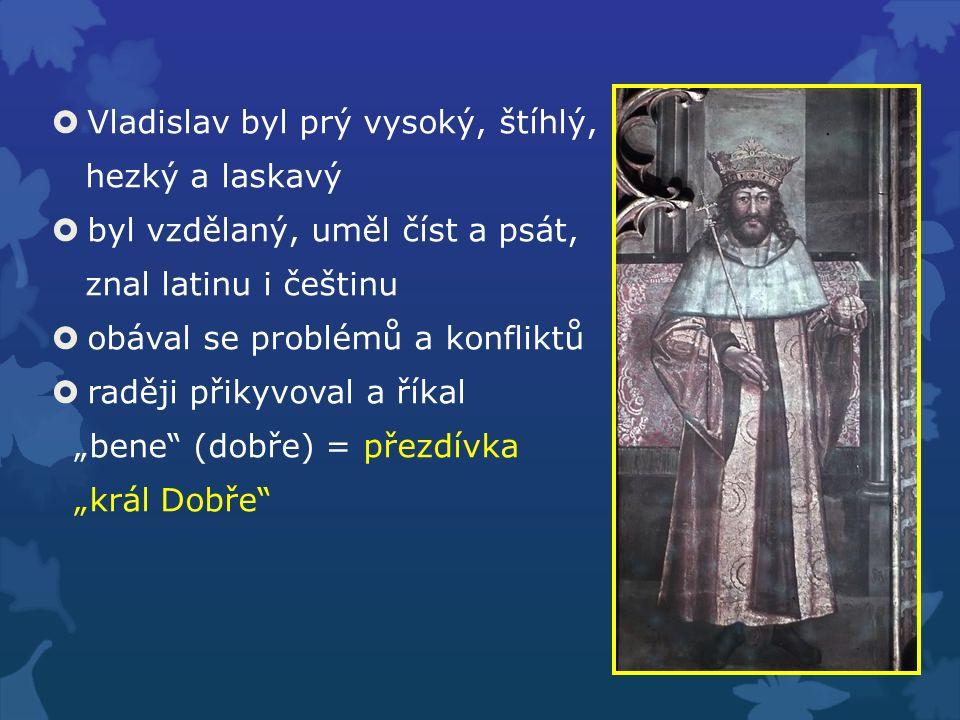  Vladislav byl prý vysoký, štíhlý, hezký a laskavý  byl vzdělaný, uměl číst a psát, znal latinu i češtinu  obával se problémů a konfliktů  raději