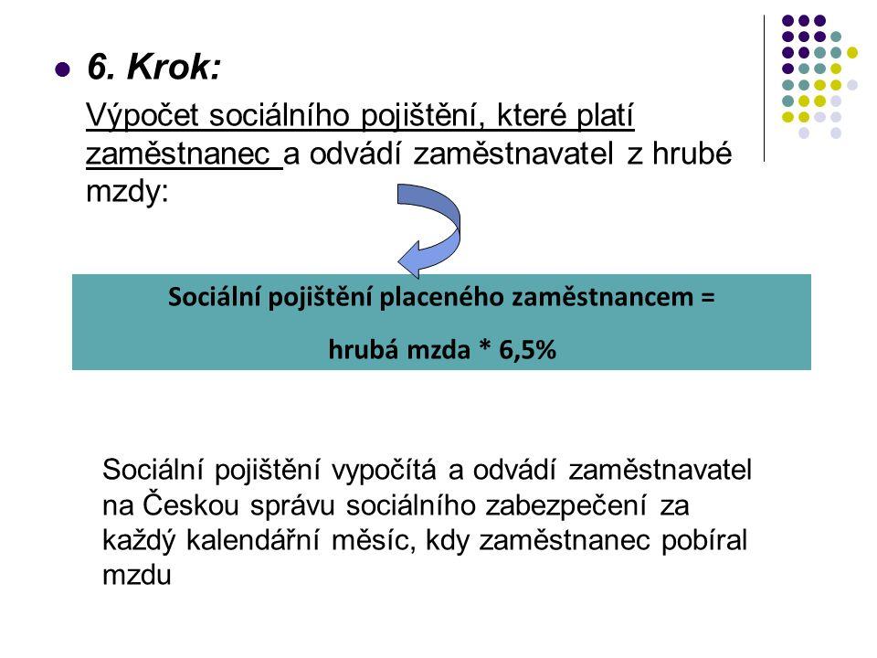 6. Krok: Výpočet sociálního pojištění, které platí zaměstnanec a odvádí zaměstnavatel z hrubé mzdy: Sociální pojištění placeného zaměstnancem = hrubá
