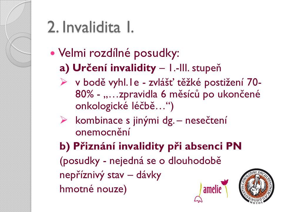 2. Invalidita I. Velmi rozdílné posudky: a) Určení invalidity – 1.-III.