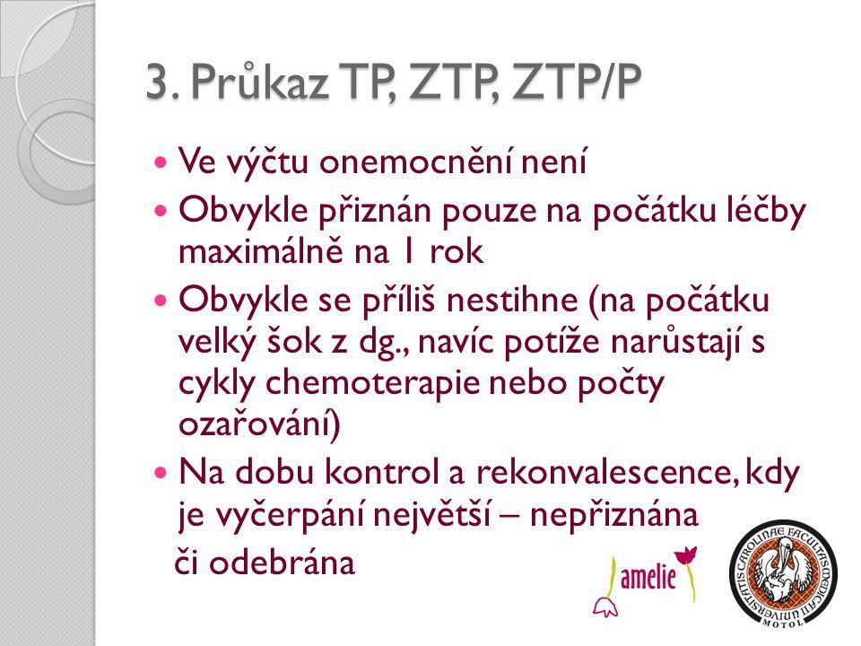 3. Průkaz TP, ZTP, ZTP/P Ve výčtu onemocnění není Obvykle přiznán pouze na počátku léčby maximálně na 1 rok Obvykle se příliš nestihne (na počátku vel