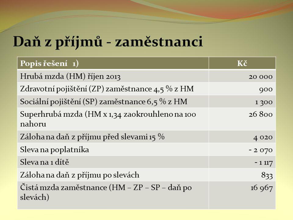 Popis řešení 1)Kč Hrubá mzda (HM) říjen 201320 000 Zdravotní pojištění (ZP) zaměstnance 4,5 % z HM900 Sociální pojištění (SP) zaměstnance 6,5 % z HM1
