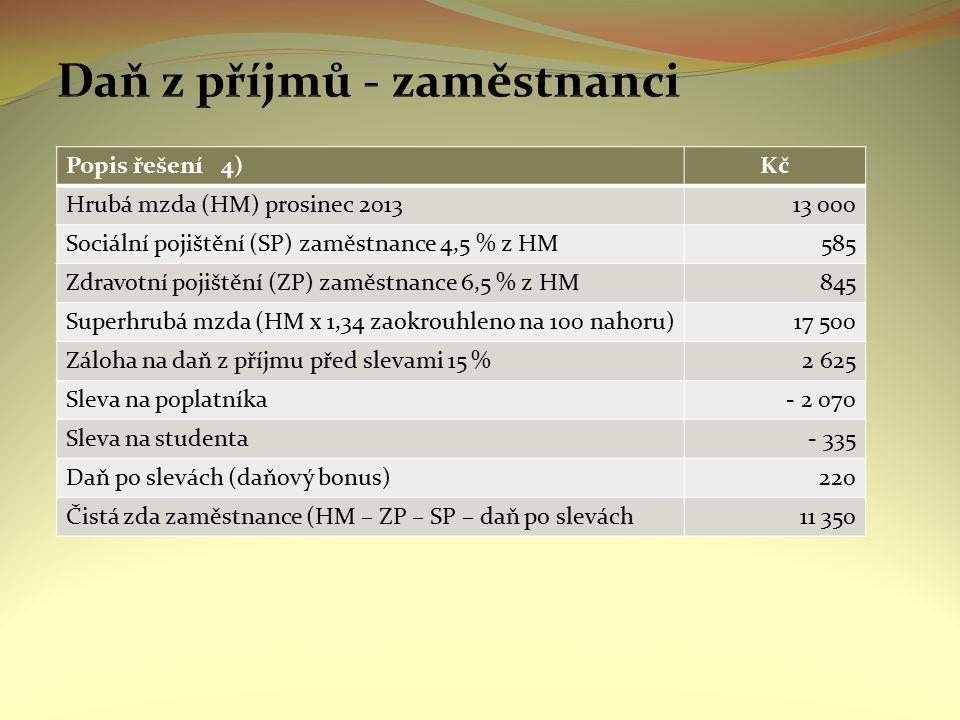 Popis řešení 4)Kč Hrubá mzda (HM) prosinec 201313 000 Sociální pojištění (SP) zaměstnance 4,5 % z HM585 Zdravotní pojištění (ZP) zaměstnance 6,5 % z H
