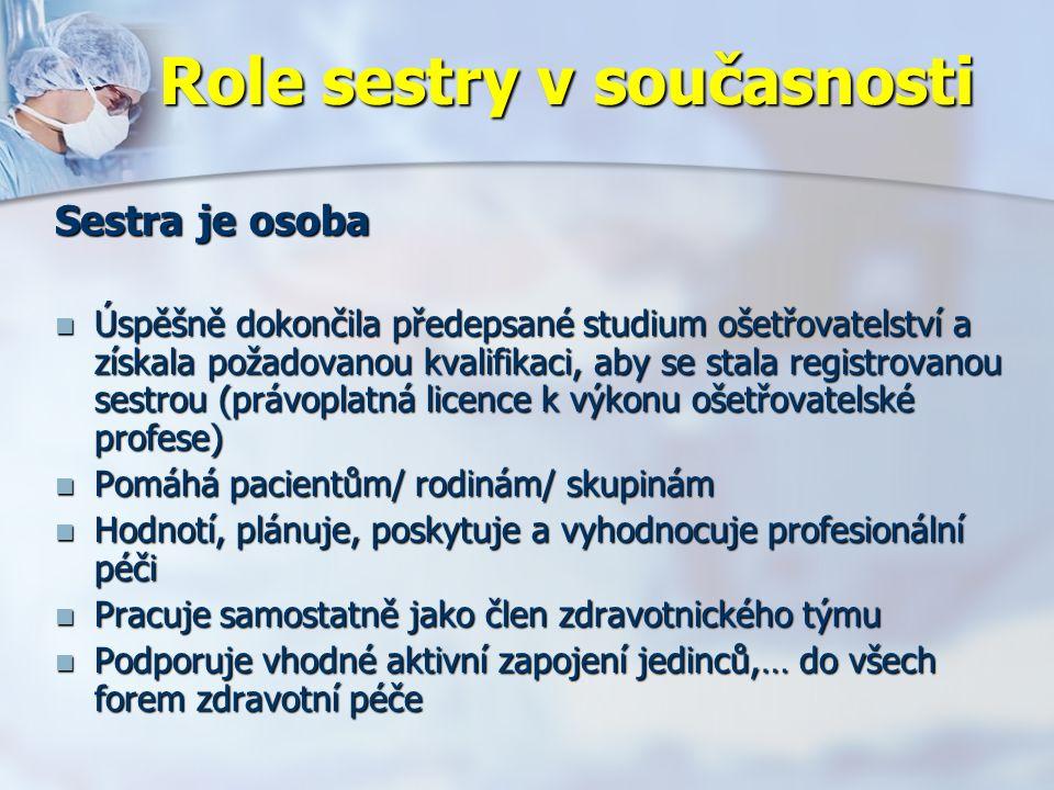 Role sestry v současnosti Sestra je osoba Úspěšně dokončila předepsané studium ošetřovatelství a získala požadovanou kvalifikaci, aby se stala registrovanou sestrou (právoplatná licence k výkonu ošetřovatelské profese) Úspěšně dokončila předepsané studium ošetřovatelství a získala požadovanou kvalifikaci, aby se stala registrovanou sestrou (právoplatná licence k výkonu ošetřovatelské profese) Pomáhá pacientům/ rodinám/ skupinám Pomáhá pacientům/ rodinám/ skupinám Hodnotí, plánuje, poskytuje a vyhodnocuje profesionální péči Hodnotí, plánuje, poskytuje a vyhodnocuje profesionální péči Pracuje samostatně jako člen zdravotnického týmu Pracuje samostatně jako člen zdravotnického týmu Podporuje vhodné aktivní zapojení jedinců,… do všech forem zdravotní péče Podporuje vhodné aktivní zapojení jedinců,… do všech forem zdravotní péče