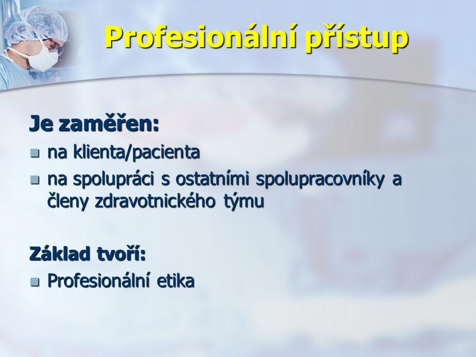 Profesionální přístup Je zaměřen: na klienta/pacienta na klienta/pacienta na spolupráci s ostatními spolupracovníky a členy zdravotnického týmu na spolupráci s ostatními spolupracovníky a členy zdravotnického týmu Základ tvoří: Profesionální etika Profesionální etika