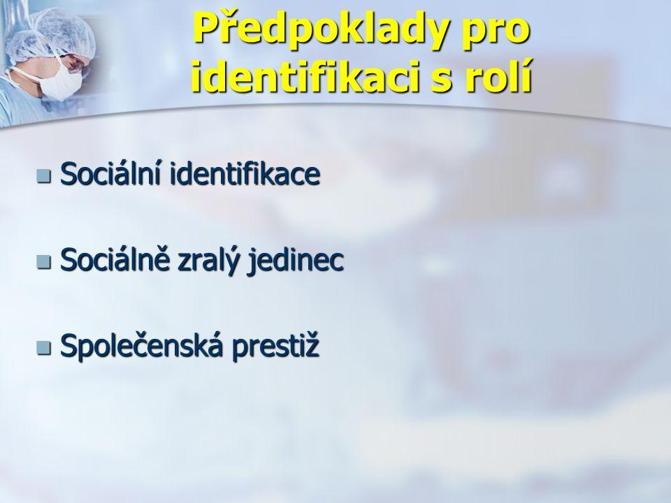 Předpoklady pro identifikaci s rolí Sociální identifikace Sociální identifikace Sociálně zralý jedinec Sociálně zralý jedinec Společenská prestiž Společenská prestiž